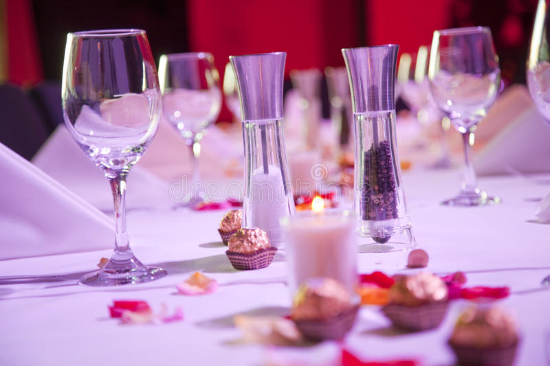 Set restaurant table for special occasion stock photo
