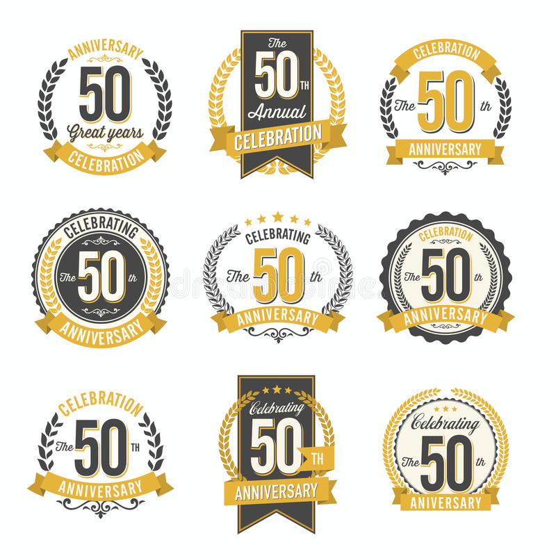 Set of Retro Anniversary Badges 50th Year Celebration. Vector royalty free illustration