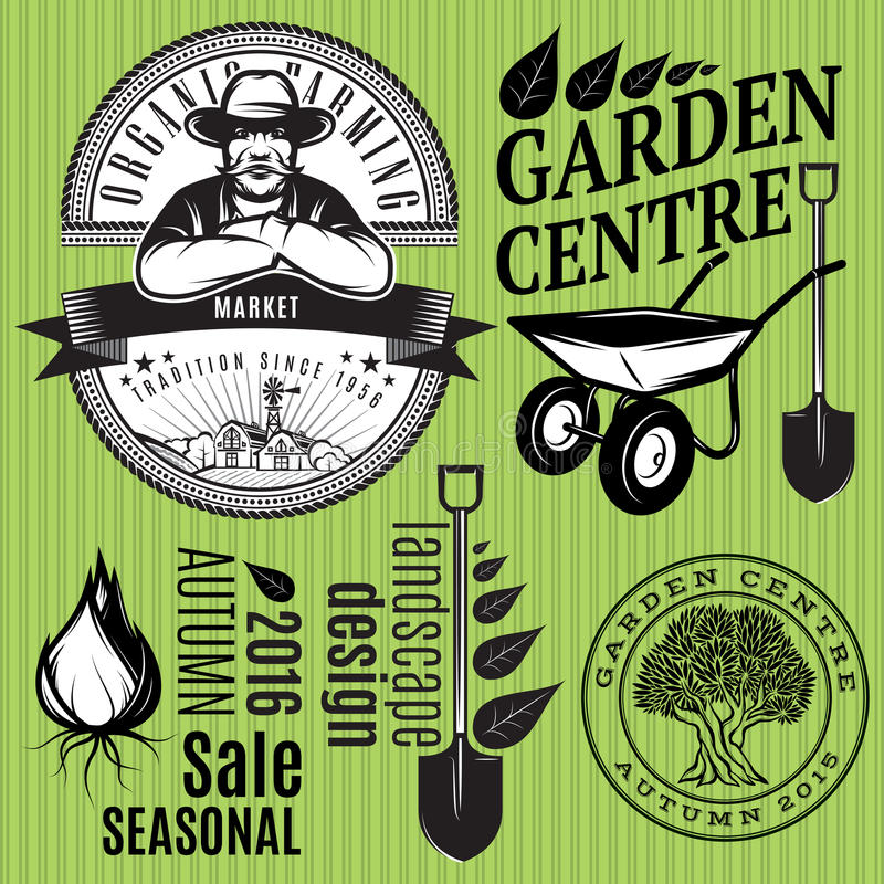 Set of retro badges with farmer for gardening or organic farming royalty free illustration