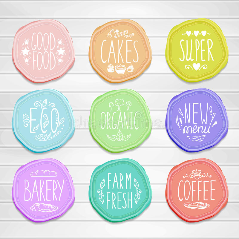 Set of retro badges with hand-drawn lettering on a royalty free illustration