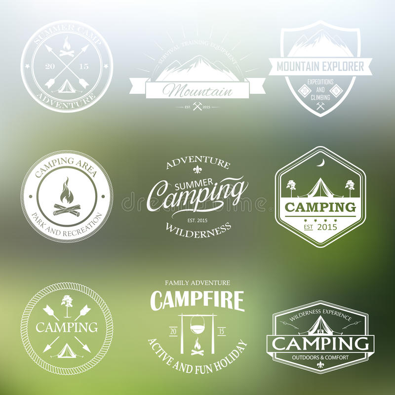 Set of retro badges and logo stock illustration