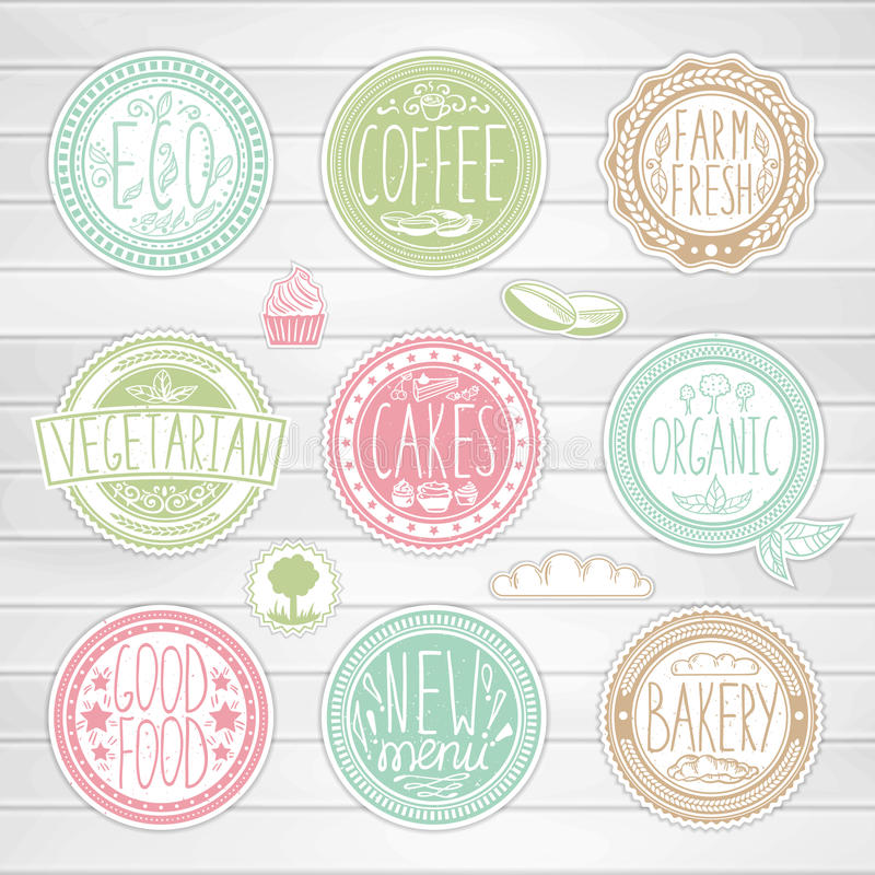 Set of retro badges. Vintage food labels. Hand-drawn lettering. royalty free illustration