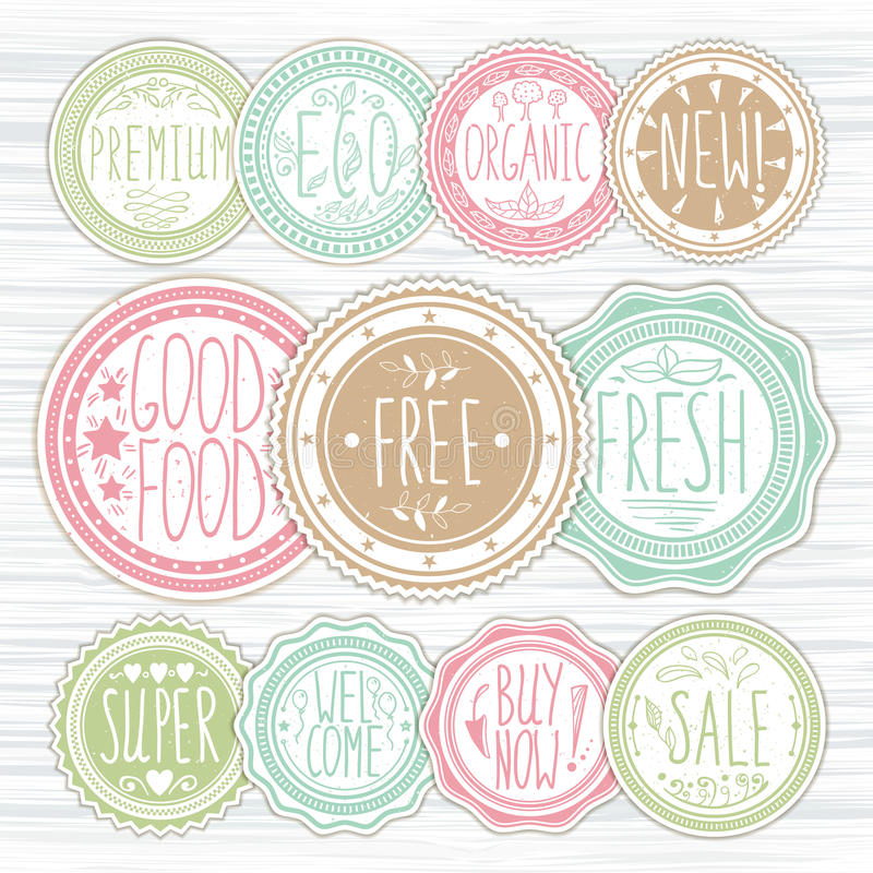 Set of retro badges. Vintage labels. Hand-drawn lettering. royalty free illustration