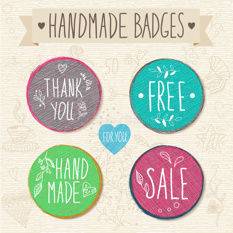 Set of retro badges. Vintage labels. Hand-drawn lettering. stock illustration