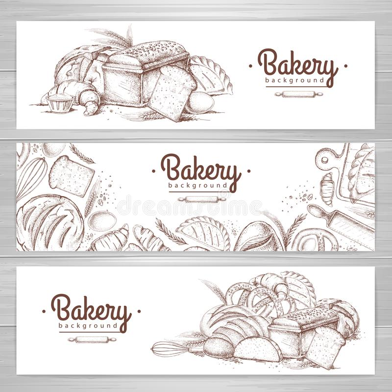 Bakery Banners. Hand Drawn Cooking Bread Bakery Bagel