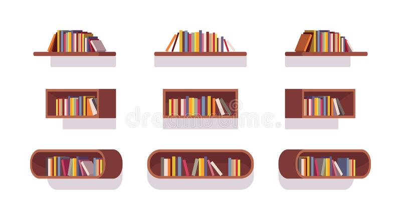 Set of retro bookshelves stock illustration