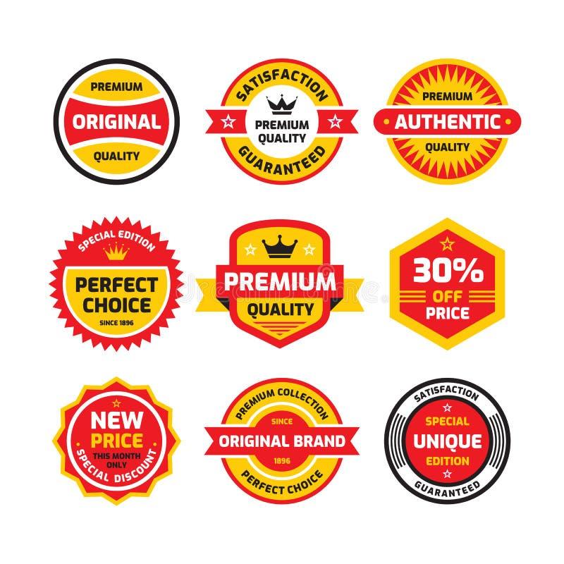 Set retro business badge vector illustration set in flat style. Vintage premium logo collection. Authentic original quality. royalty free illustration