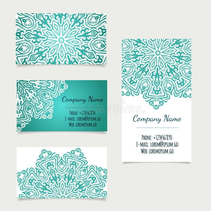 Set of retro business card templates with mandala stock image