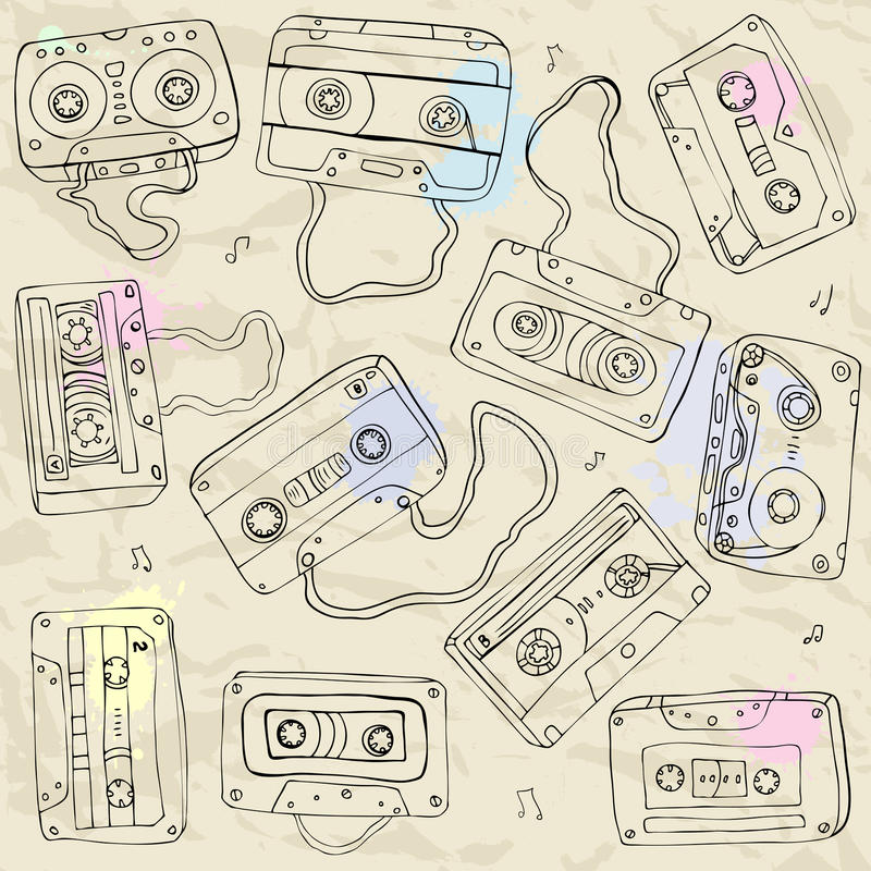 Download Set Of Retro Cassette Tapes Stock Illustration - Image: 28912274
