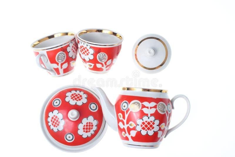 Set retro ceramiczne filiżanki zdjęcie stock