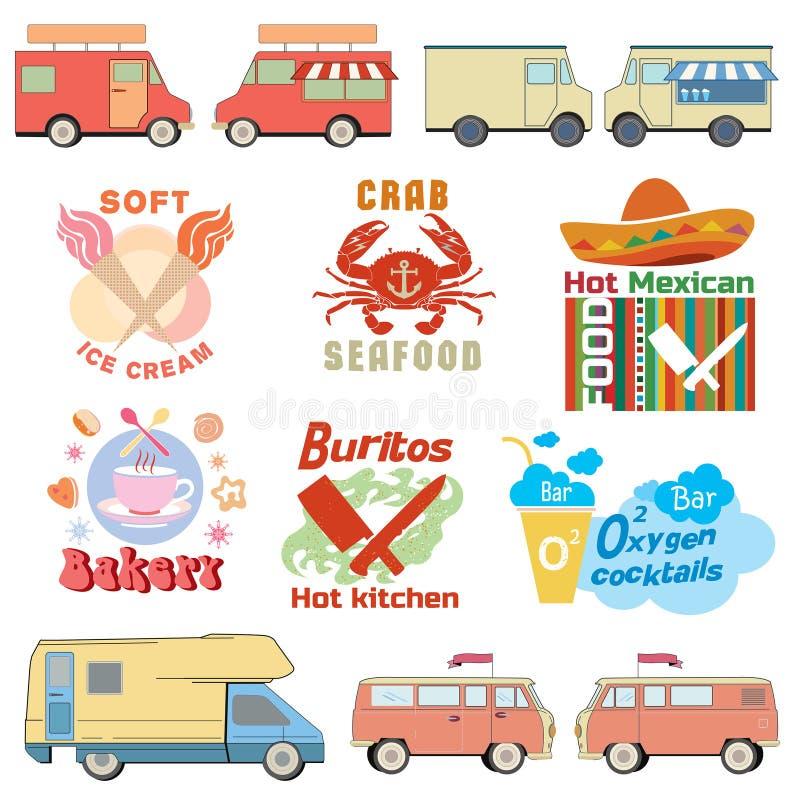 Set retro ciężarowe ilustracje i karmowe logo grafika royalty ilustracja