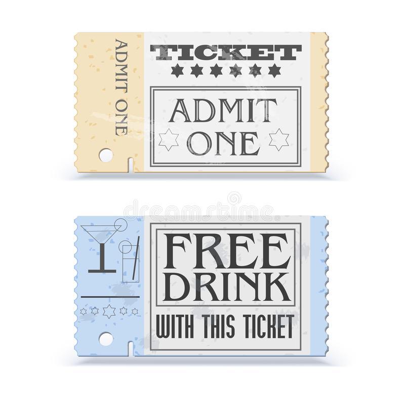Set of retro cinema tickets or event. Shape with texture effect and vintage text. Admit one movie ticket. Vector icon royalty free illustration