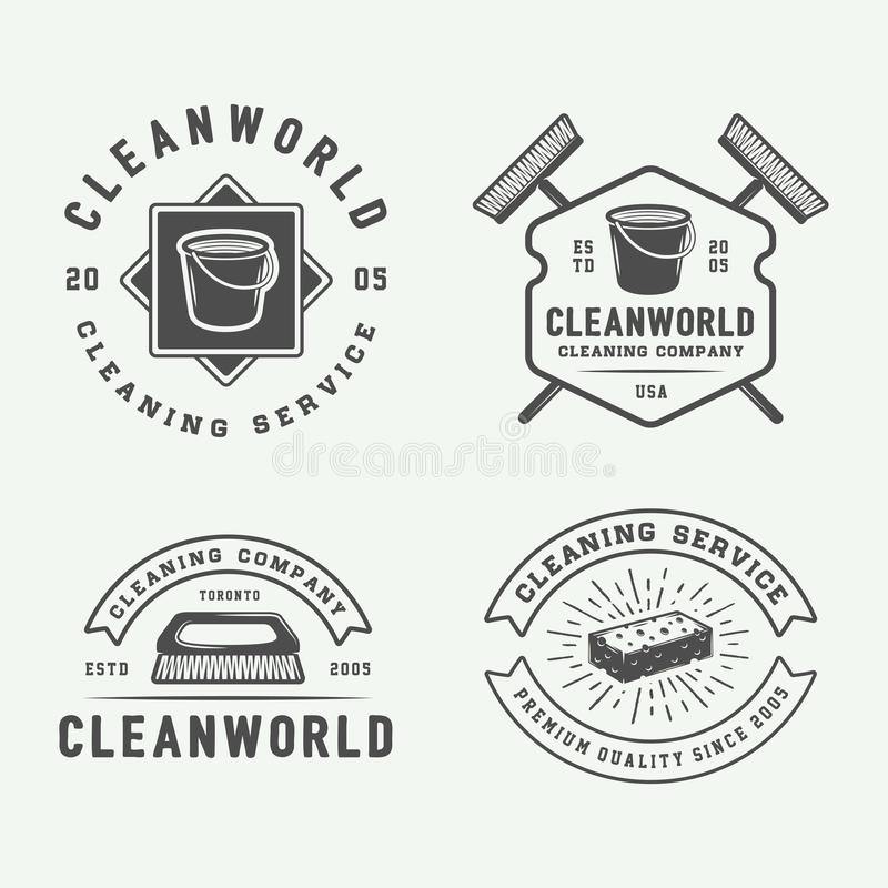 Set of retro cleaning logo badges, emblems and labels. In vintage style. Monochrome Graphic Art. Vector Illustration royalty free illustration