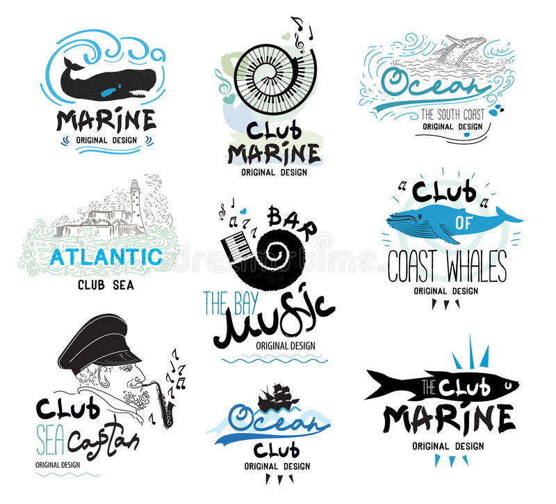 Set retro of clubs and bars logo and emblems. Design elements and icons to the theme of the sea and music. vector illustration
