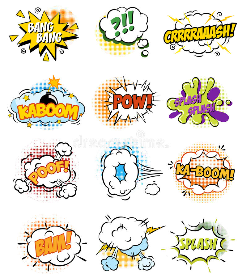 Set of Retro Comic Book Vector Design elements. Speech and Thought Bubbles royalty free illustration