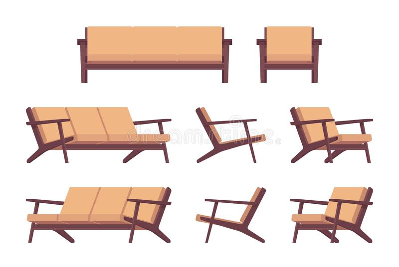 Set of retro cream sofa and armchair royalty free illustration