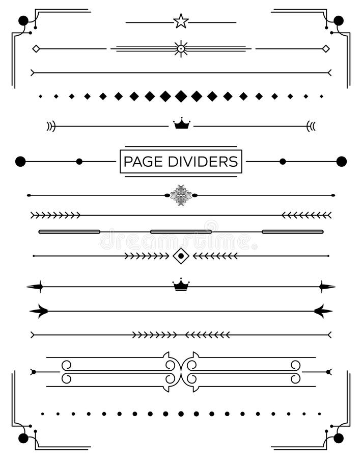 Set of Retro Decorative Page Dividers and Design Elements. Vector Illustration. Classical Book Collection stock illustration