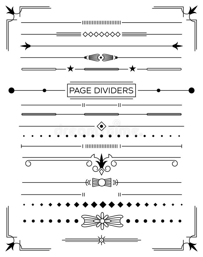 Set of Retro Decorative Page Dividers and Design Elements. Vector Illustration. Classical Book Collection royalty free illustration
