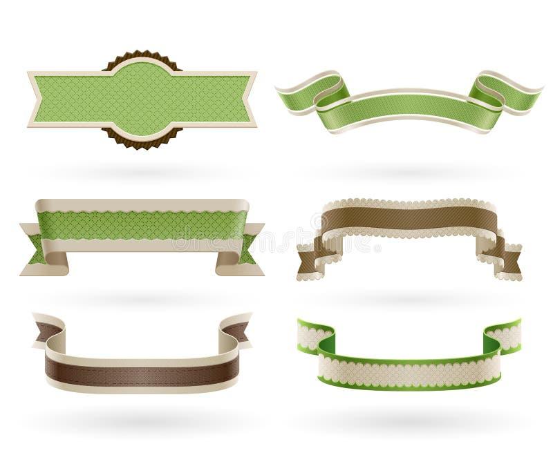 Set Retro- Eco Farbbänder. stock abbildung
