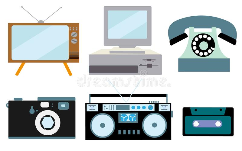 A set of retro electronics, technology. Old, vintage, retro, hipster, antique kinescope TV, computer with floppy, disk phone, came royalty free illustration