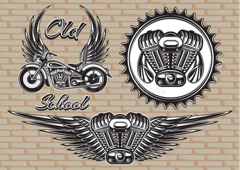 Set retro emblematy na motocyklu temacie royalty ilustracja