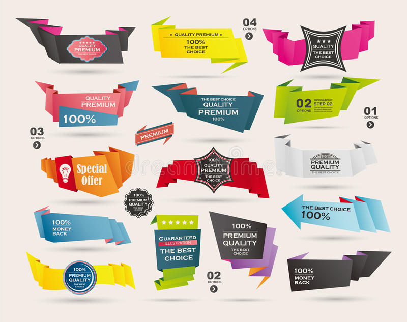 Set Retro faborki i etykietki, Origami sztandary royalty ilustracja