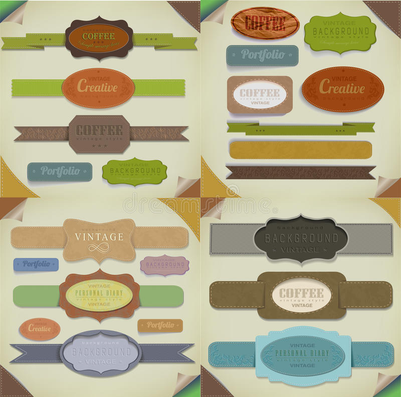 Set retro faborki, stary brudzi papierowe tekstury, rocznik etykietki, sztandary i emblematy. Elementy inkasowi dla projekta. ilustracji