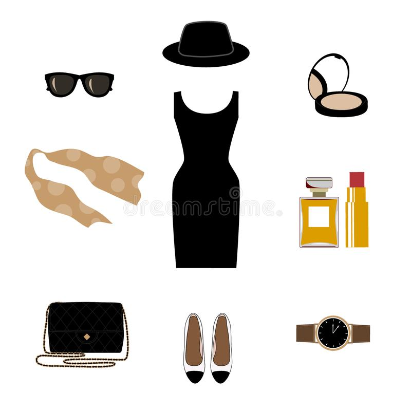 Set with retro fashion objects: women hats, shoes, bags, lipsticks, eyeglasses, perfume. Old-fashioned retro-styled stock illustration
