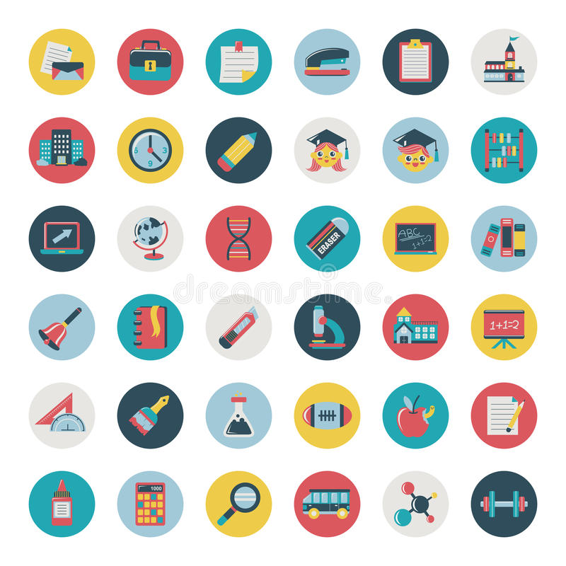 Download Set Of Retro Flat Education Icons,back To School Stock Vector - Image: 35034144