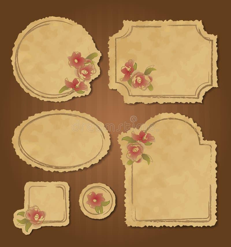 Set of retro floral vintage frames and labels vector illustration