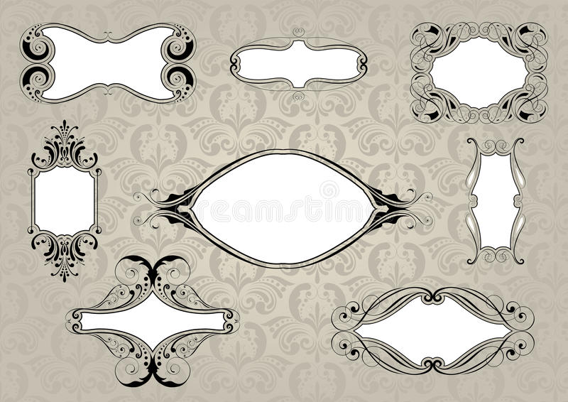Set of retro frame with background pattern stock illustration
