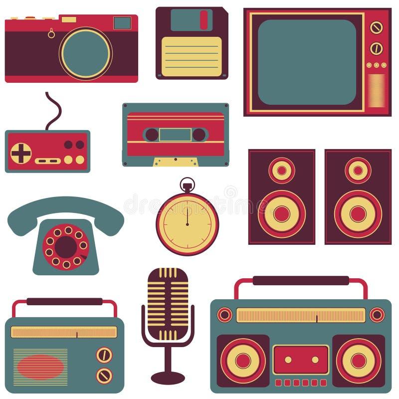 Set of retro gadgets stock illustration