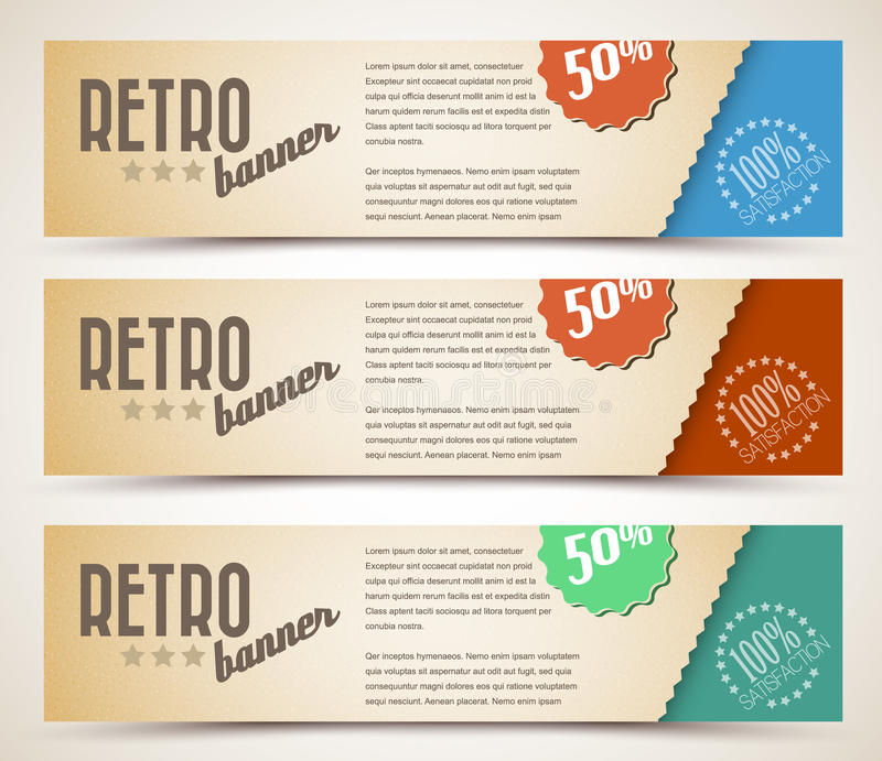 Download Set Of Retro Horizontal Banners Stock Vector - Illustration of page, brown: 23545585