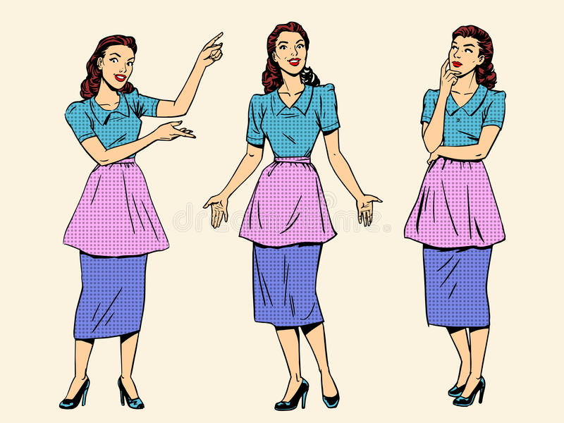 Set retro housewife woman wife girl stock illustration