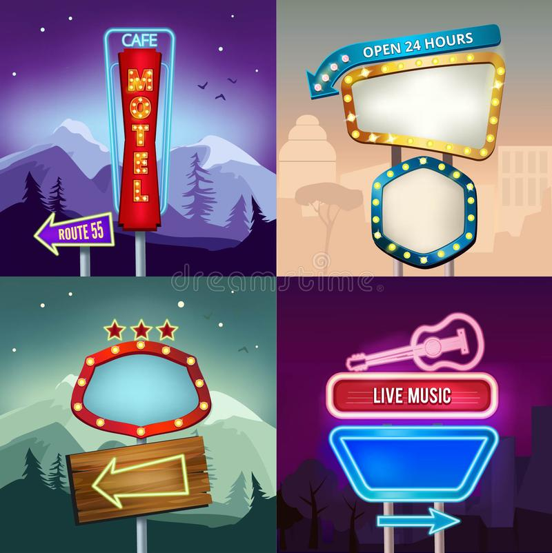 Set of retro illustrations of landscape with lighting neon banners for advertise. Board for motel and shop vector illustration