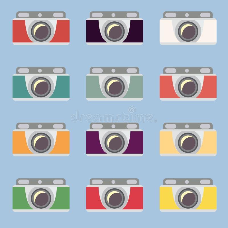 Set retro kamery Płaski projekt royalty ilustracja