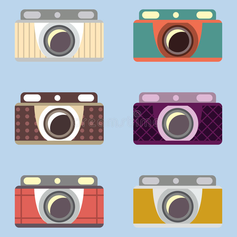 Set retro kamery Płaski projekt ilustracja wektor