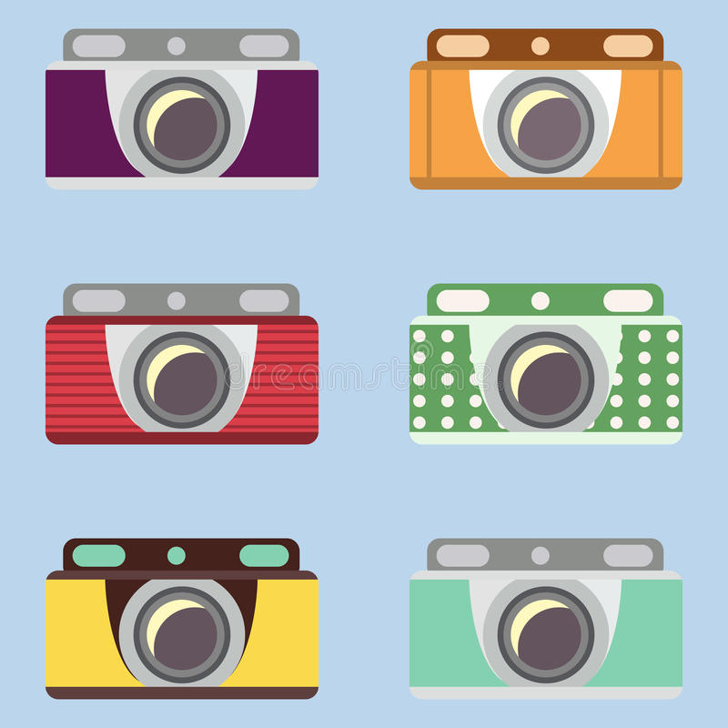 Set retro kamery Płaski projekt ilustracji