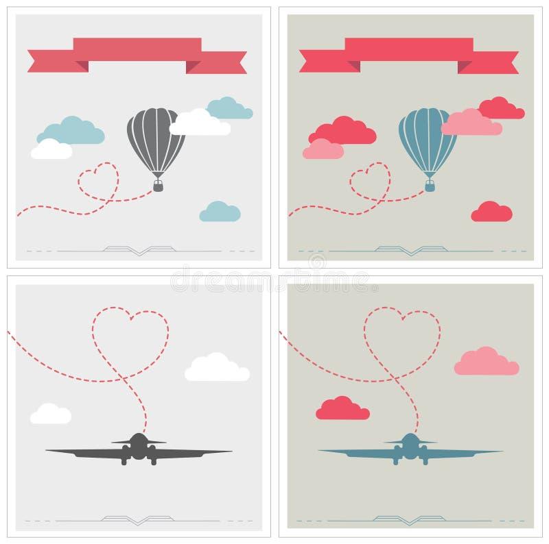 Set retro karty z aerostata i samolotu lataniem ilustracji
