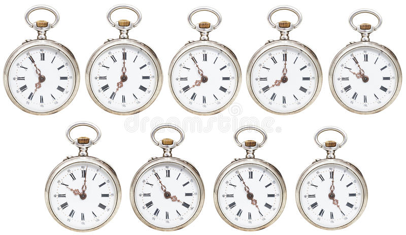 Set retro kieszeniowi zegarki z różnym czasem obrazy royalty free