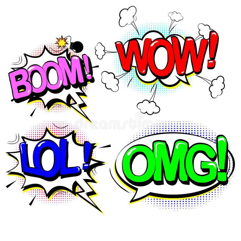 Set retro kreskówka, mowy nakreślenie OMG, huk, no! no!, LOL gulgocze komiczną mowę Dialog Chmurnieje w wystrzał sztuki stylu wek ilustracji