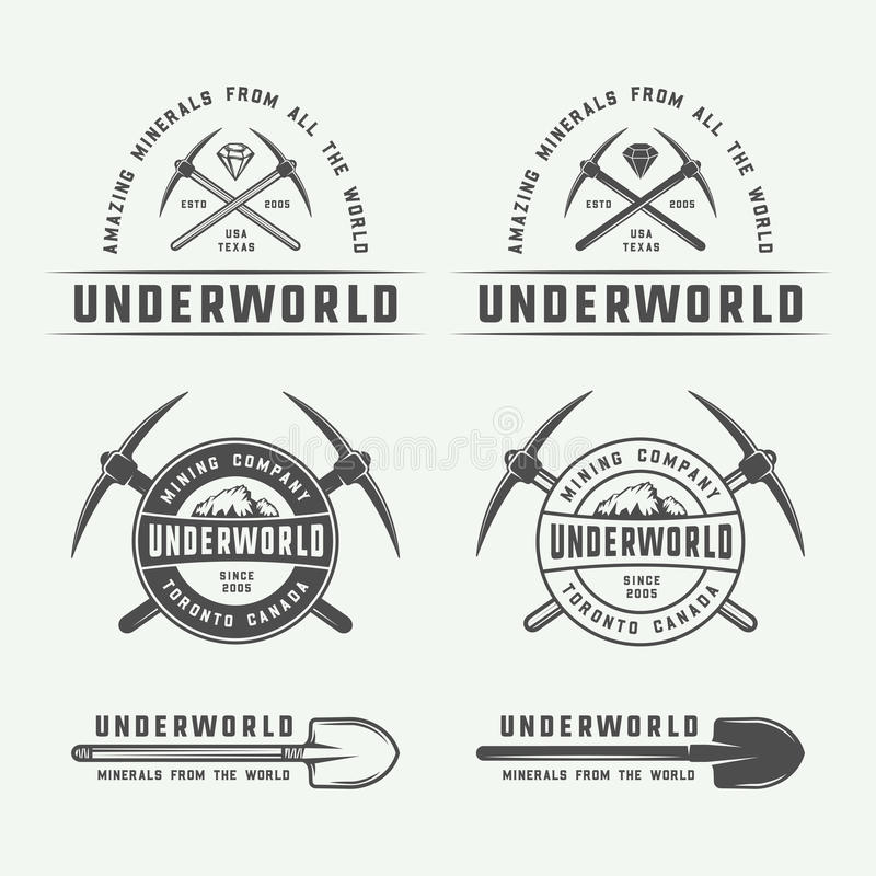 Set of retro mining or construction logo badges and labels. In vintage style. Monochrome Graphic Art. Vector Illustration royalty free illustration