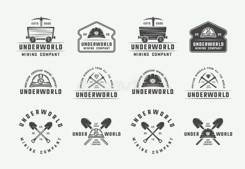Set of retro mining or construction logos, badges, emblems and labels in vintage style. vector illustration