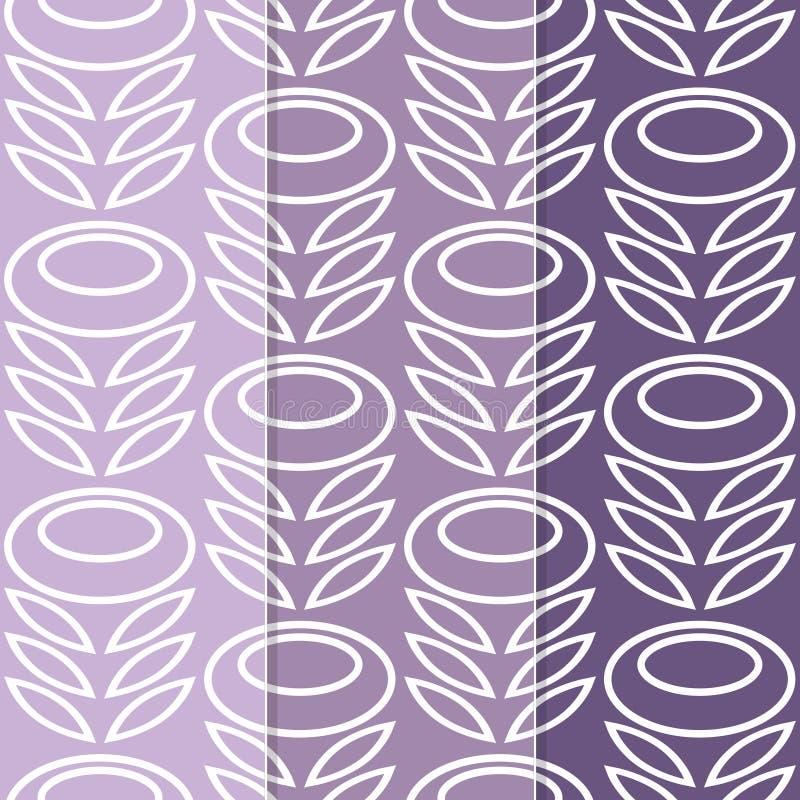 Set Of 3 Retro Modern Flower Print Stock Image