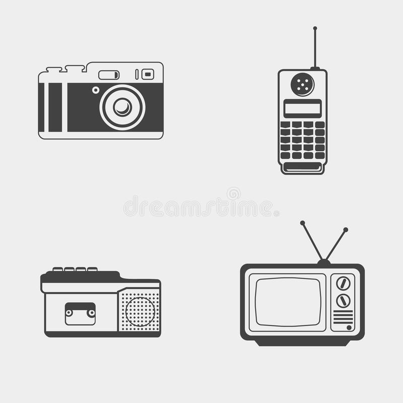 Set of retro monochrome icon. Photo camera, mobile phone, dictaphone, tv set stock illustration