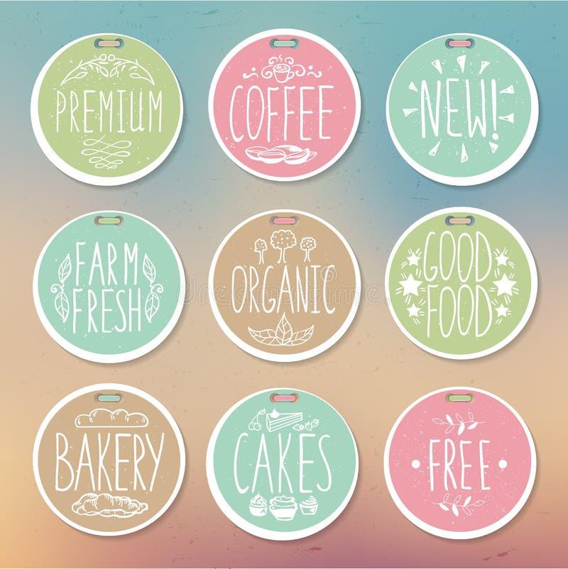 Set retro odznaki Rocznika jedzenia etykietki Pociągany ręcznie literowanie royalty ilustracja