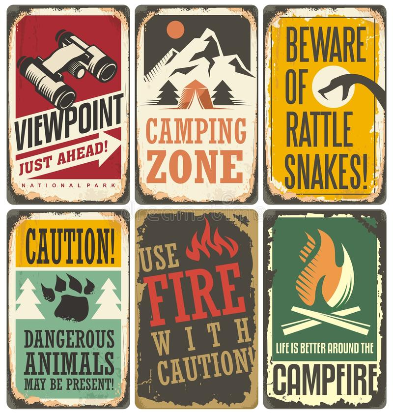 Set of retro outdoor camp signs and poster templates royalty free illustration