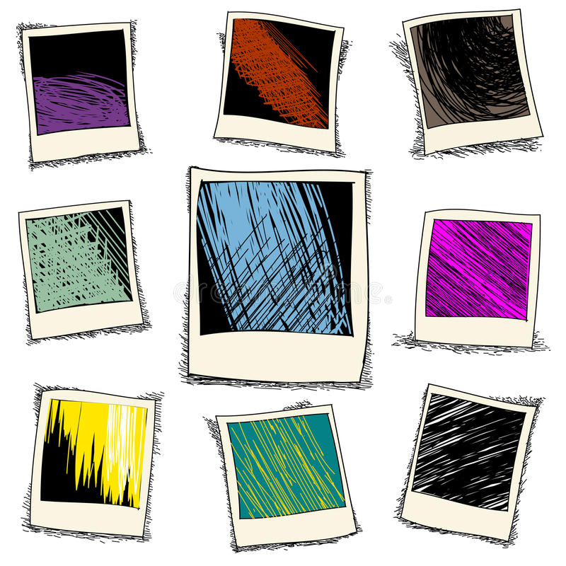 Set of retro photo frame in doodle style vector illustration