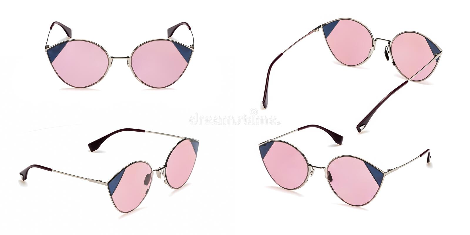 Set Retro pink sunglasses in round frame isolated on white background. Collection fashion Vintage summer sunglasses royalty free stock photo