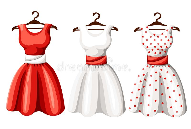 Set of retro pinup cute woman dresses. Short and long elegant black, red and white color polka dot design lady dress collection. V stock illustration